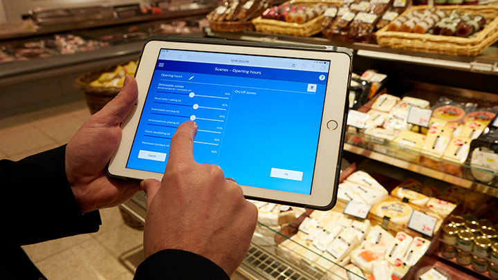 Dashboard StoreWise wireless op ipad, lichtscenes aanpassen